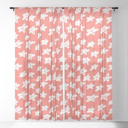 Stars Living Coral Sheer Curtain