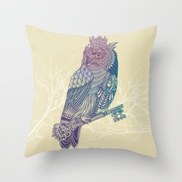 Owl King Color Throw Pillow