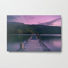 Sunset over Lake Tarawera, New Zealand Metal Print