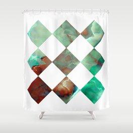 MARBLED ONYX & GEOMETRIC I Shower Curtain