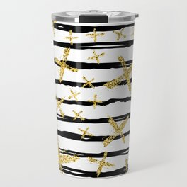 Pattern with brush stripes and gold glitter cross Travel Mug