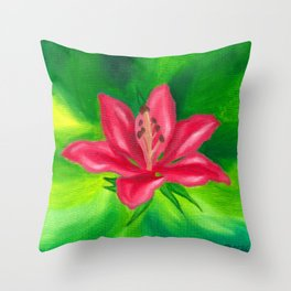Pink Lily - Floral Oil Painting Throw Pillow