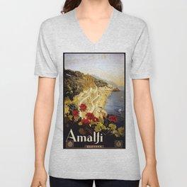 Vintage Italian 1930s Travel Poster- Amalfi Coast Unisex V-Neck