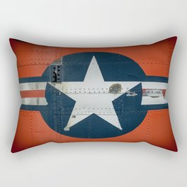 Aircraft Roundel US Air Force Insignia on Orange Airframe Rectangular Pillow