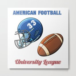 American football university league blue helmet and ball Metal Print