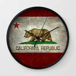 California flag - Retro Style Wall Clock