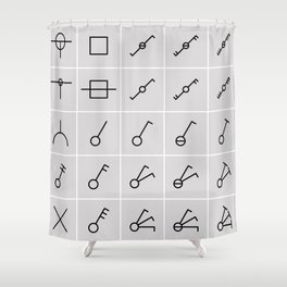 icons switches, electrical symbols Shower Curtain