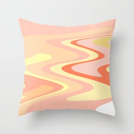River of dreams, pink and yellow waves, colorful stream of water Throw Pillow