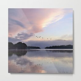 Uplifting: Geese Rise at Dawn on Lake George Metal Print