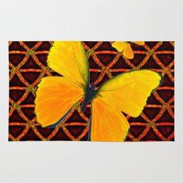 YELLOW BUTTERFLIES BROWN ART Rug