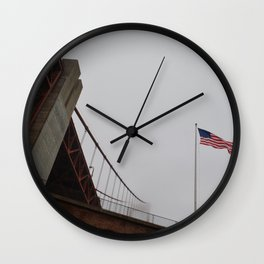 Old Glory and Golden Gate Wall Clock