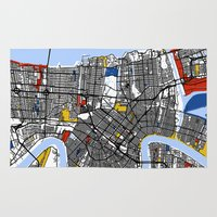 new orleans Area & Throw Rugs featuring New Orleans by Mondrian Maps