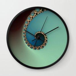 Teal Loop - Fractal Art  Wall Clock