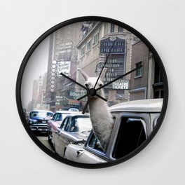 Llama Riding In Taxi In Color Wall Clock