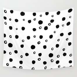 modern black and white simple minimalist polka dots pattern Wall Tapestry