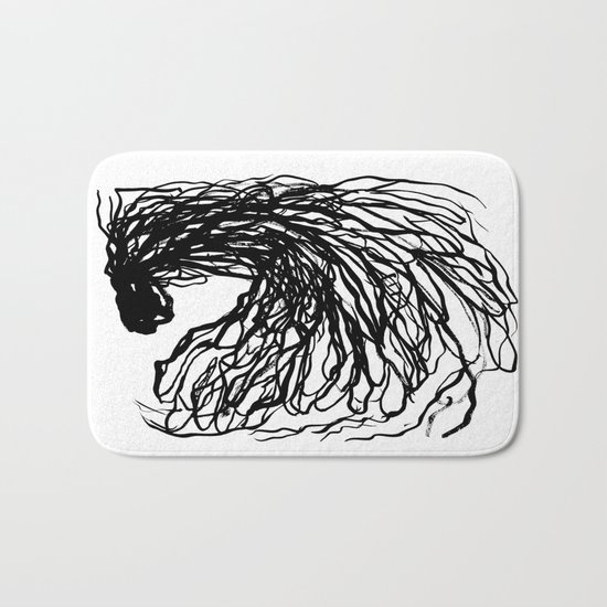 Black and white abstract brushstroke modern minimal monochromatic art print home decor college dorm Bath Mat