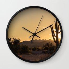Saguaro Sunset Salute Wall Clock