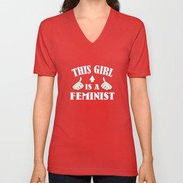 This Girl Is A Feminist Unisex V-Neck