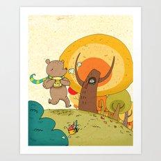 bear and honey love Art Print