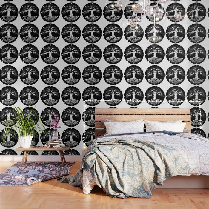 Black And White Tree Of Life With Moon Phases Celtic Trinity Knot Wallpaper