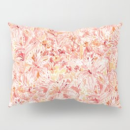 LILY LUST Peach Painterly Floral Pillow Sham