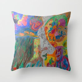A Good Witch from The Rainbow Coral River Forest in Another World Throw Pillow
