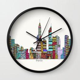 Perth city skyline Wall Clock