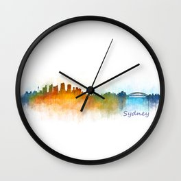 Sydney City Skyline Hq v3 Wall Clock