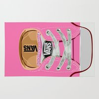 vans Area & Throw Rugs featuring Cute pink Vans all star baby shoes apple iPhone 4 4s 5 5s 5c, ipod, ipad, pillow case and tshirt by Three Second