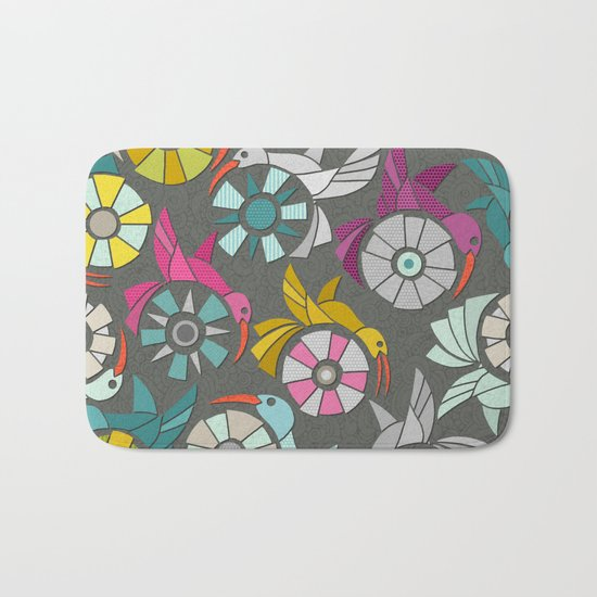 paper sunbirds graphite Bath Mat