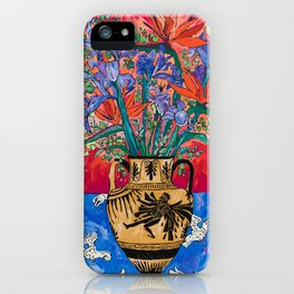 Icarus Floral Still Life Painting with Greek Urn, Irises and Bird of Paradise Flowers iPhone Case