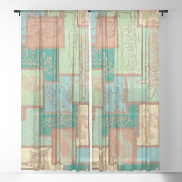 Polynesian Tapa Fish Collage Sheer Curtain