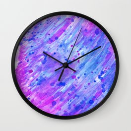abstract watercolor blue and pink Wall Clock