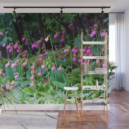 Wild Orchid Lady Slipper Forest Flowers Found in Rhode Island Wall Mural