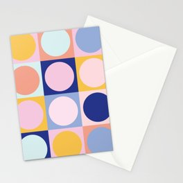 Colorful Circles in Squares Stationery Cards