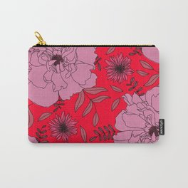 Russian Red Peony Modern Floral Print in Pink Carry-All Pouch