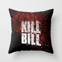 kill bill Throw Pillows featuring KILL BILL blood by Osman SARGIN