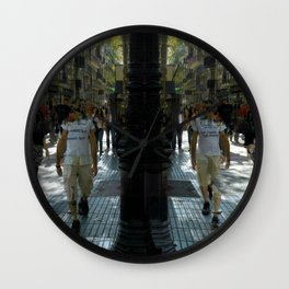 A man and his time displaced mirror image walking. Wall Clock