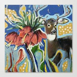Visite surprise au jardin Canvas Print