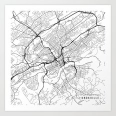 Knoxville Map, USA - Black and White Art Print