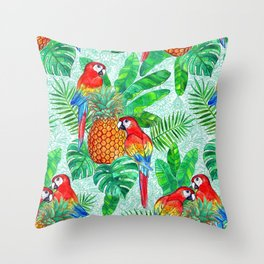 Pineapples and Parrots Tropical Summer Pattern Throw Pillow