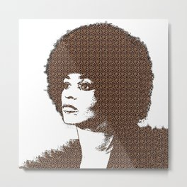 Angela Davis - White Background Metal Print