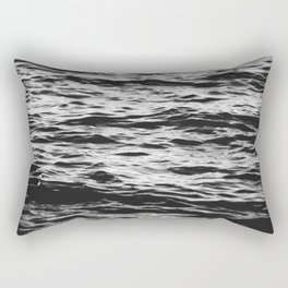 Marble Waters Black and White Rectangular Pillow