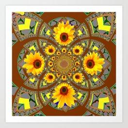 OPTICAL ART BROWN-GREY SUNFLOWERS Art Print