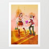 shopping Art Prints featuring Shopping by hazukei