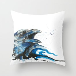 Blue crow Throw Pillow