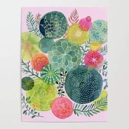 Succulent Circles on Pink Poster