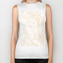 White Marble Pastel Pink and Gold by Nature Magick Biker Tank