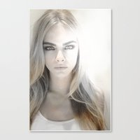 cara delevingne Canvas Prints featuring Cara Delevingne by Joe Bidmead