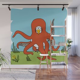 Eglantine la poule (the hen) dressed up as an octopus Wall Mural